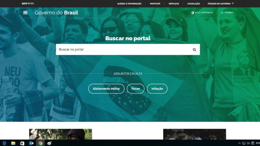 8.jan.2019 - Na segunda-feira (7), site do governo federal mostrava foto de militantes pró-Bolsonaro - Reprodução/brasil.gov.br