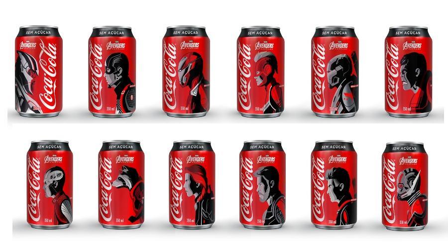 """Os doze personagens de """"Vingadores: o Ultimato"""" estarão nas lata de Coca-Cola Sem Açúcar - Divulgação"""
