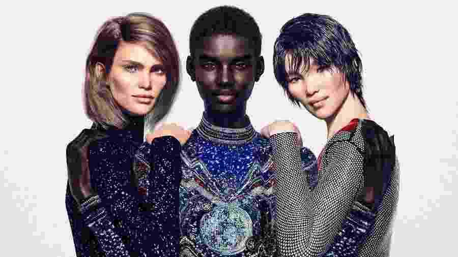 Imagem cedida pela Balmain mostra as modelos digitais Margot, Shudu e Zhi - Balmain via The New York Times