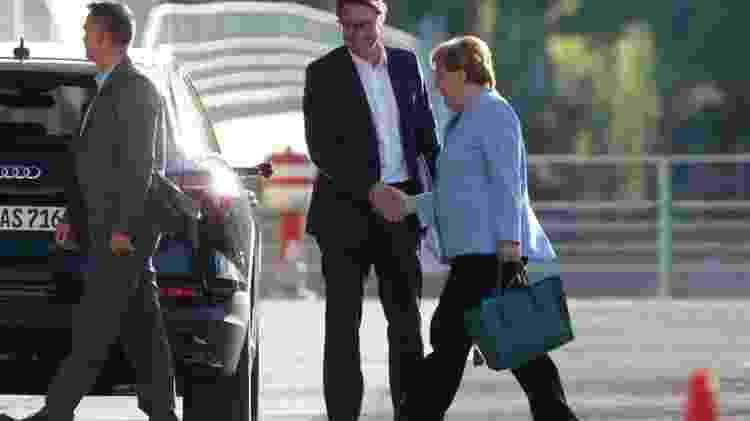 Merkel durante reunião sobre emissões de diesel de veículos alemães, em 24 de junho; premiê alemã chamou de 'dramática' política ambiental de Bolsonaro - EPA