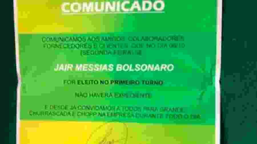 Justiça condenou empresa que prometeu folga, churrasco e chope caso Jair Bolsonaro fosse eleito presidente da República - Divulgação/FECESC