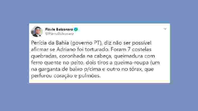 Tuíte de Flávio Bolsonaro - Reprodução do Twitter - Reprodução do Twitter