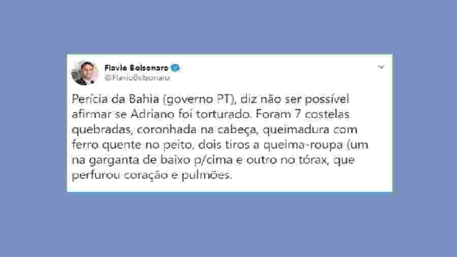 """Embora principal beneficiário objetivo da morte de Adriano, Flávio acusa o governo da Bahia... E, pela primeira vez, vemos alguém da família referir-se à tortura de modo negativo...  Parece que pegaria mal na Zona Oeste do Rio não defender um """"parça""""... - Reprodução do Twitter"""