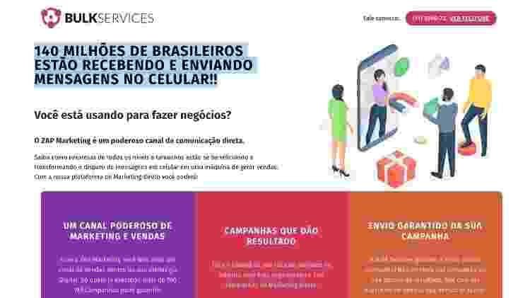 Página da Bulk Services, plataforma criada pela Yacows para disparar mensagens em massa no WhatsApp - Reprodução/Bulk Services - Reprodução/Bulk Services