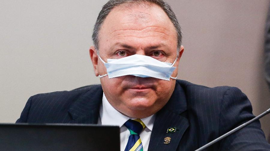 Ex-ministro da Saúde Eduardo Pazuello em depoimento na CPI da Covid - Sergio Lima/AFP