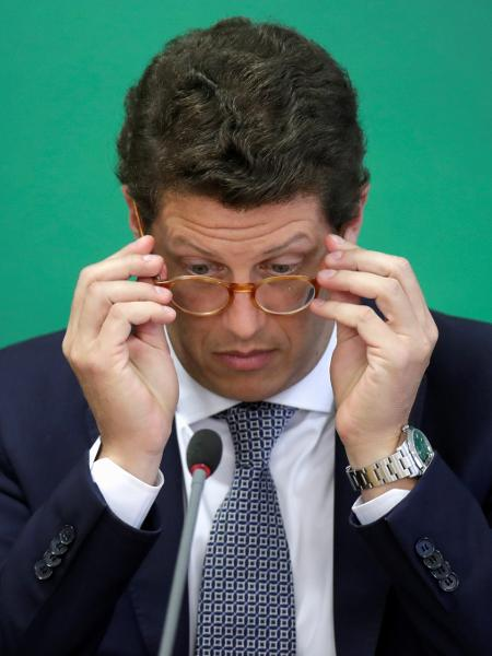 22.abr.2021 - O agora ex-ministro do Meio Ambiente, Ricardo Salles, durante evento no Palácio do Planalto - Ueslei Marcelino/Reuters