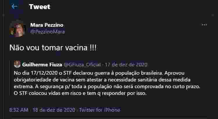 A médica Mara Regina Cordeiro Pezzino escreveu no Twitter que não iria tomar a vacina contra a covid-19 - Reprodução/Twitter - Reprodução/Twitter