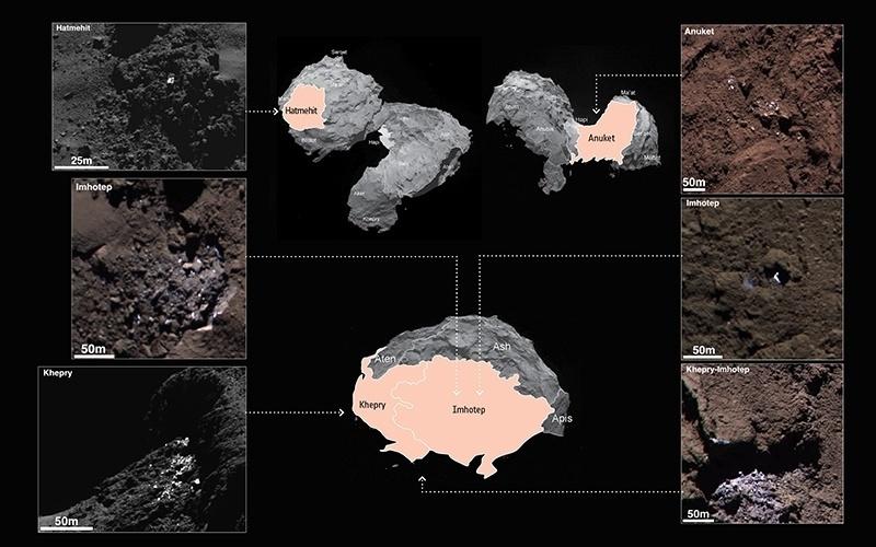 24.jun.2015 - Usando a câmera de alta resolução da sonda Rosetta, cientistas identificaram centenas de pedaços de gelo na superfície do cometa 67P/Churyumov-Gerasimenko. A sonda também já detectou uma variedade de gases, incluindo vapor de água, dióxido de carbono e monóxido de carbono, que acreditam ter se originado de reservatórios congelados abaixo da superfície. Agora, foram identificadas 120 regiões que são até dez vezes mais brilhantes do que o brilho normal que envolve o corpo celeste. Em todos os casos, as manchas brilhantes foram encontradas em áreas que recebem relativamente pouca energia solar, tal como a sombra de um penhasco
