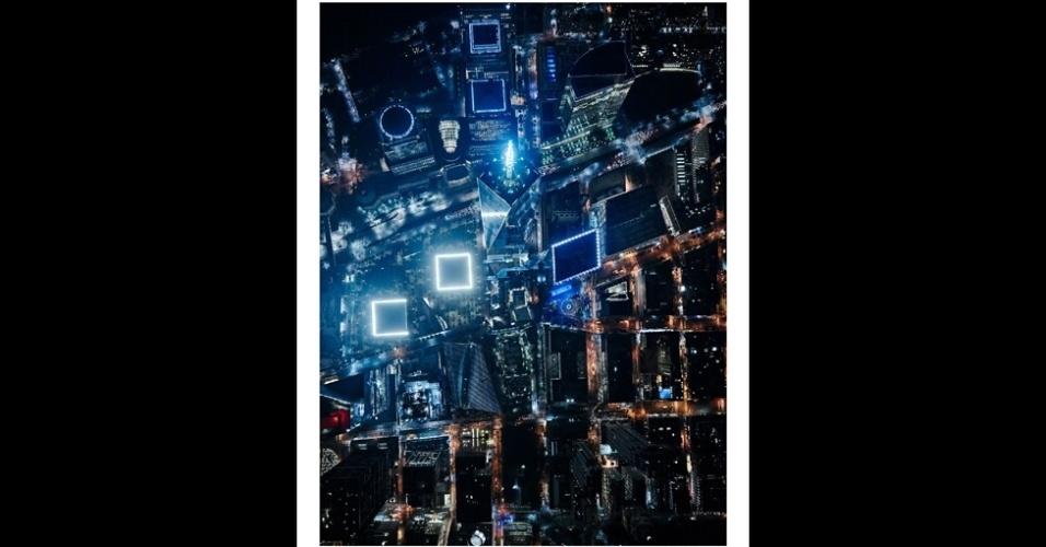 21.set.2015 - Aqui, o One World Trade Center. Dá para ver as piscinas norte e sul brilhando em evidência. Elas são o foco desta imagem, que é chamada
