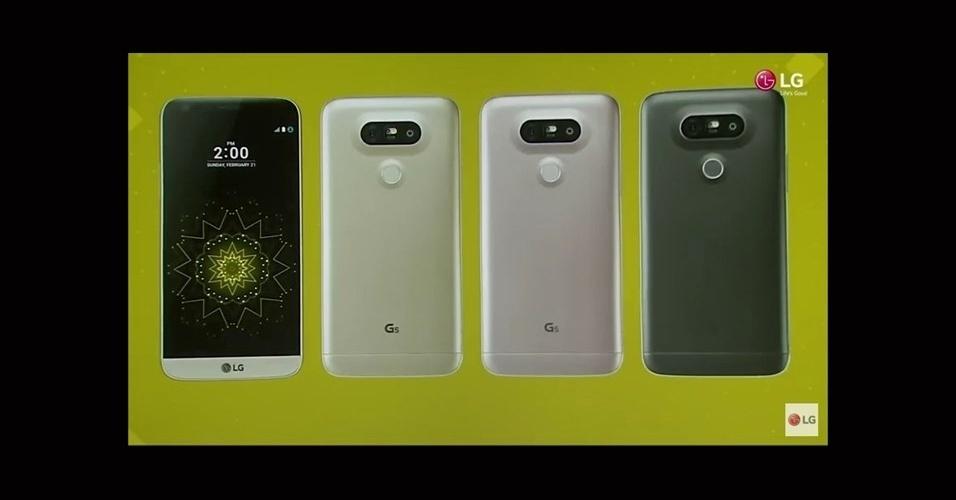21.fev.2016 - O LG G5 deve chegar ao Brasil em abril, mas o seu preço ainda não foi anunciado. A empresa adiantou que o modelo terá quatro opções de cores: Titan, Pink, Gold e Silver