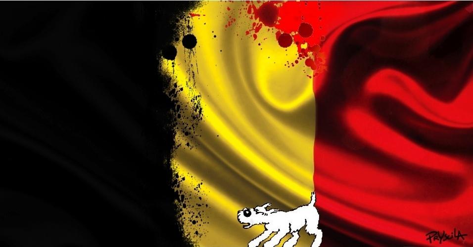23.mar.2016 - Cachorro do Tintim, Milu, presta homenagem às vítimas do atentado terrorista na Bélgica