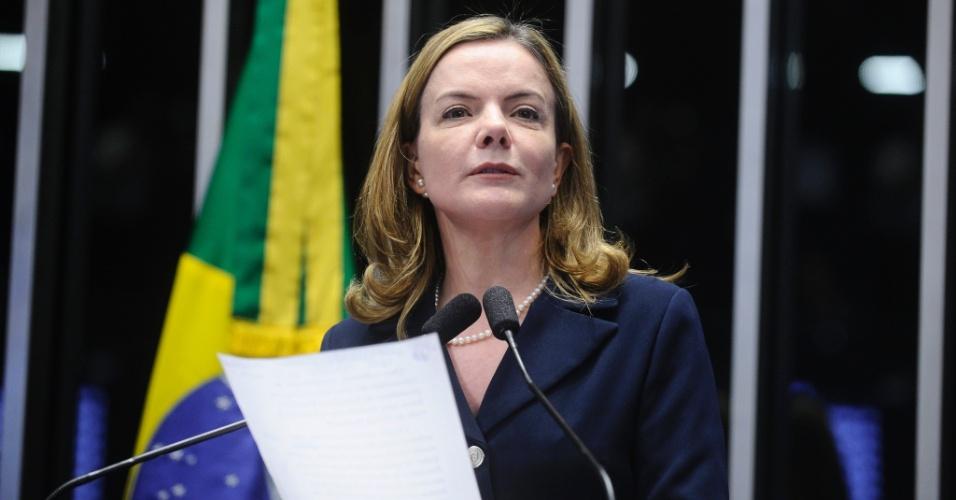 """30.ago.2016 - Em seu discurso na fase de debates do julgamento do impeachment da presidente afastada, Dilma Rousseff, a senadora Gleisi Hoffmann (PT-PR) disse que """"não há como negar a fortíssima dose de misoginia"""" que marca a oposição à governante petista"""