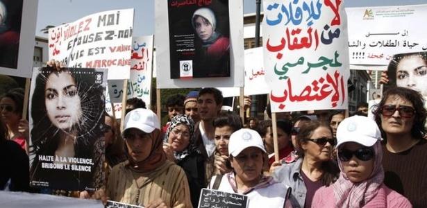 Protesto a violência sexual contra mulheres nas ruas do Marrocos (17/03/2012) - AFP