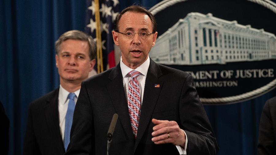 O advogado geral americano Rod Rosenstein em entrevista à imprensa nos Estados Unidos - NICHOLAS KAMM / AFP