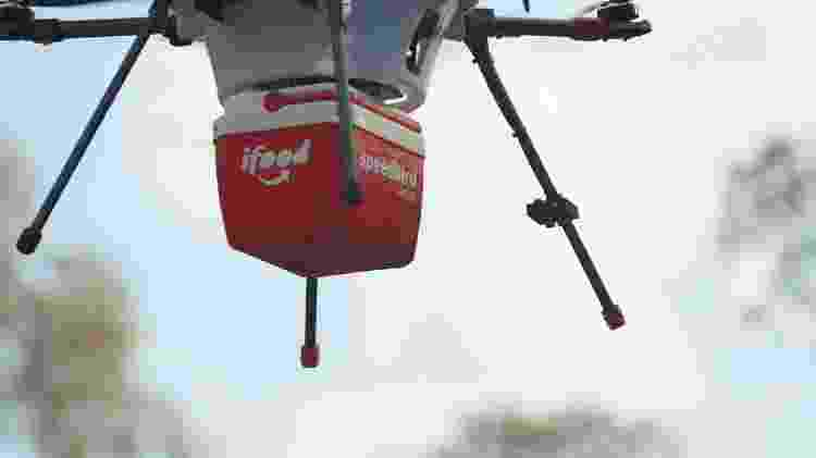 Detalhe da embalagem carregada pelo drone usado pelo iFood para entregas de comida  - Divulgação/iFood