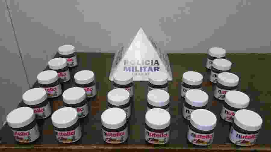 Potes de Nutella furtados de supermercado em Patrocínio (MG) - Divulgação/Polícia Civil MG