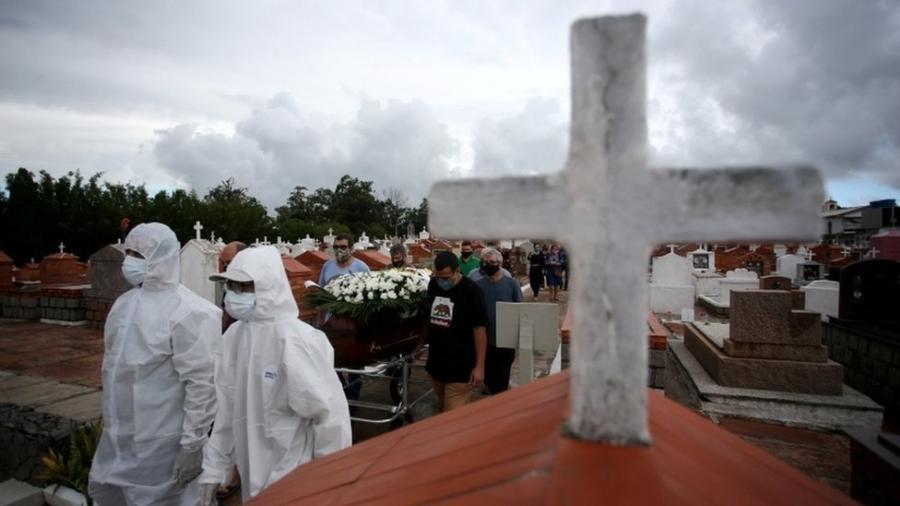 Enterro de Paulo Carletti, 76 anos, vítima de covid-19 em Porto Alegre (RS); ocupação de leitos na capital já ultrapassa os 100% - REUTERS/Diego Vara