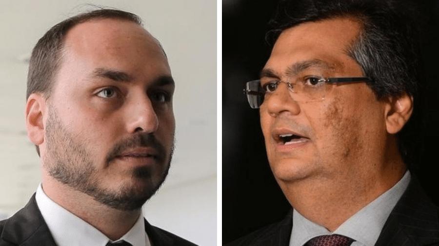 O vereador Carlos Bolsonaro e o governador do Maranhão, Flávio Dino - Divulgação e Fabio Rodrigues Pozzebom/Agência Brasil