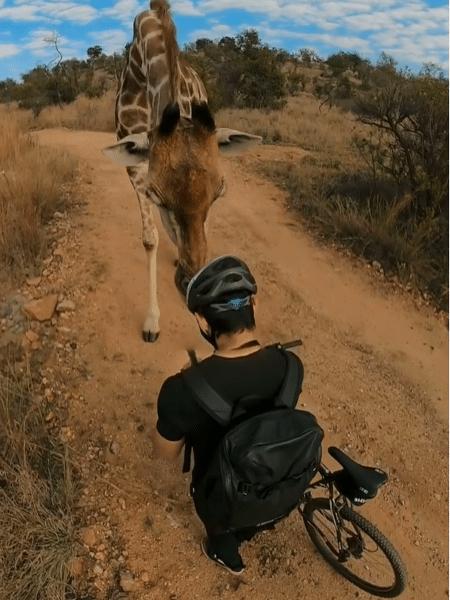 Timmy conteve o medo e deixou girafa se aproximar dele - Reprodução/Instagram/@mosertimmy