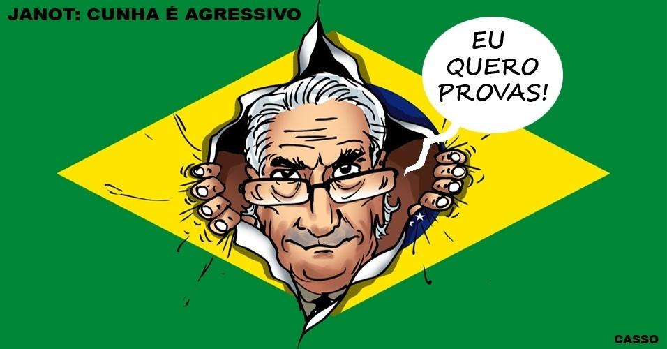 18.fev.2016 - Na querela entre o presidente da Câmara, Eduardo Cunha, e o procurador-geral da República, Rodrigo Janot, se um cutuca, o outro responde