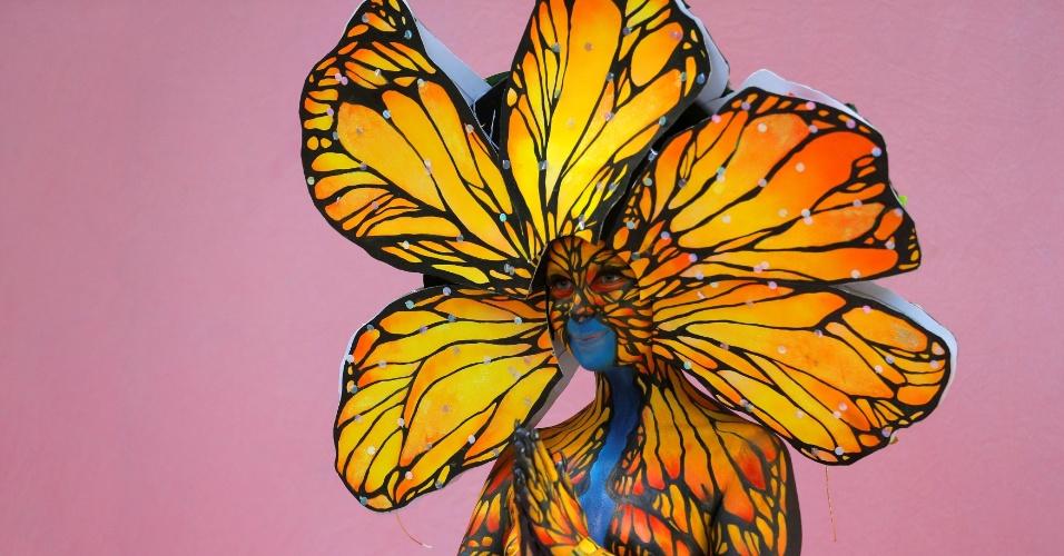 1º.jul.2016 - Modelo apresenta pintura corporal durante do Festival Mundial de Bodypainting, em Poertschach, Áustria. O festival teve início na sexta e até o domingo deve reunir especialistas em pintura corporal de 45 países
