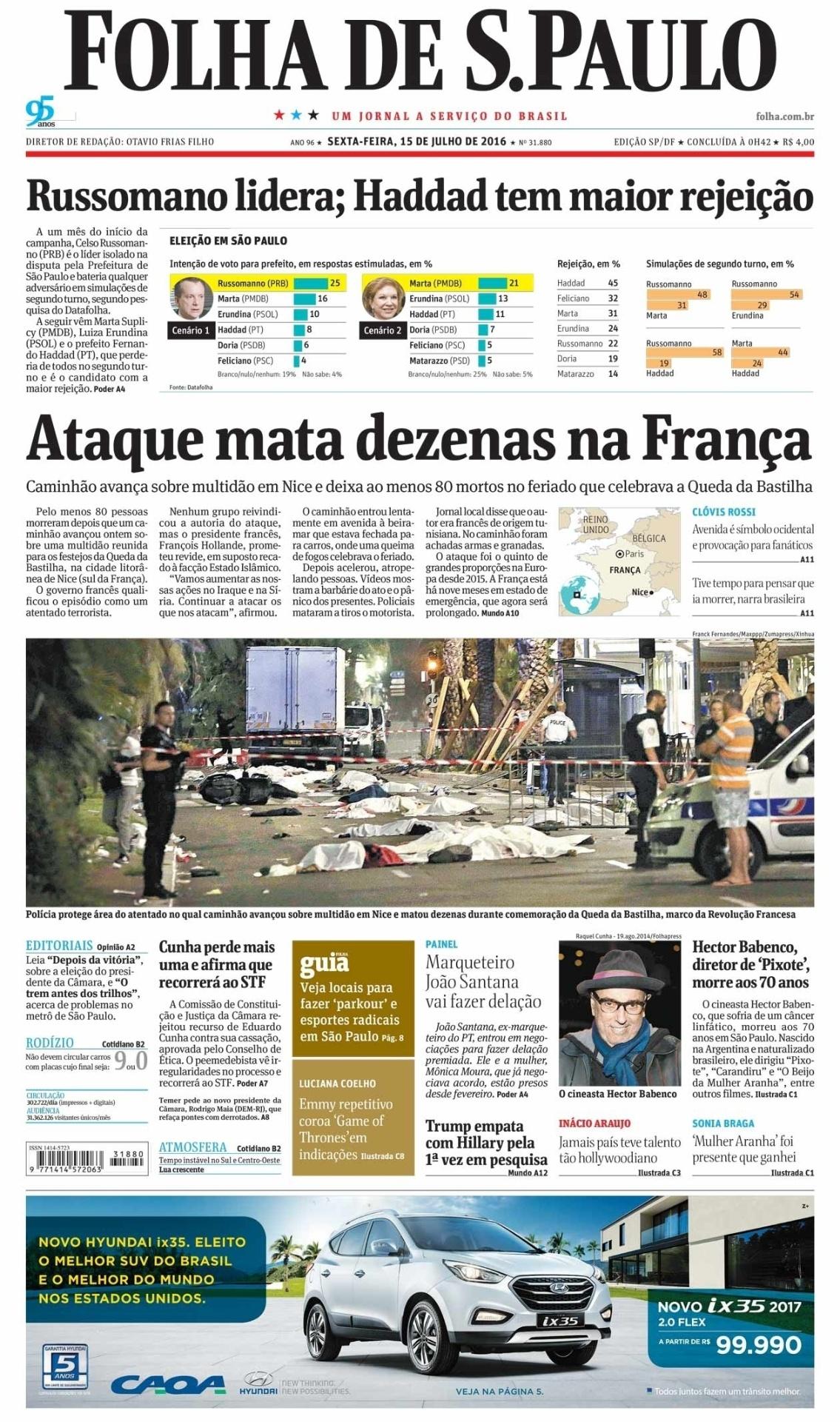 O jornal brasileiro Folha de S. Paulo destacou o alto número de mortes do mortal atentado em Nice na primeira página do jornal