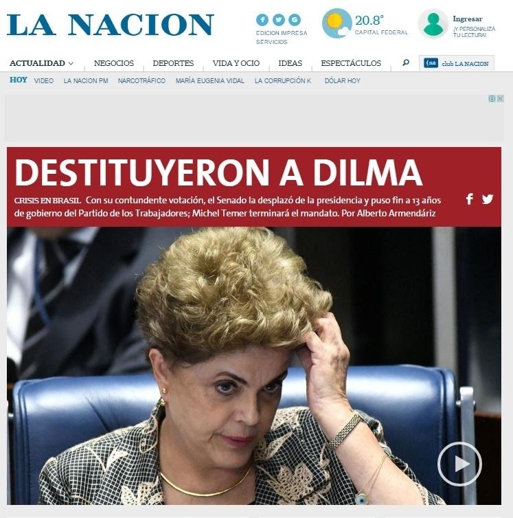 """A manchete do site do jornal """"La Nacion"""", da Argentina"""
