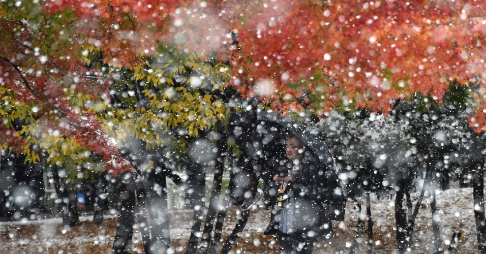 24.nov.2016 - Homem com guarda-chuva caminha durante grande queda de neve em Tóquio, no Japão