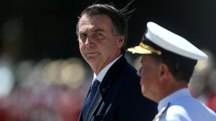 Na 1 ª aparição pública após a polêmica, Bolsonaro foi à comemoração dos 211 anos do corpo de fuzileiros naval da Marinha - Fábio Motta/Estadão Conteúdo