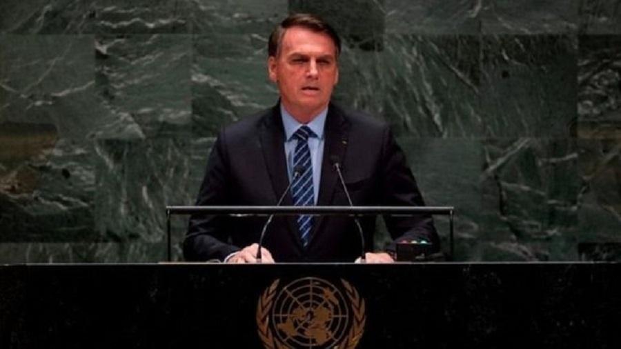 Bolsonaro durante a abertura da Assembleia Geral da ONU, em Nova York, onde falou sobre o Brasil à beira do comunismo - AFP