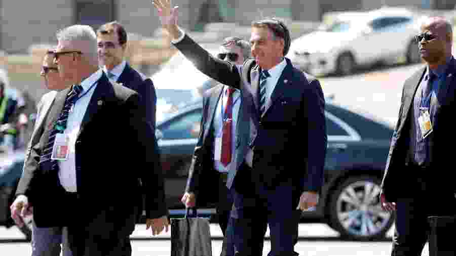 O presidente Jair Bolsonaro em visita em fevereiro ao Uruguai para a cerimônia de posse do presidente do país, Lacalle Pou; - Mariana Greif/Reuters