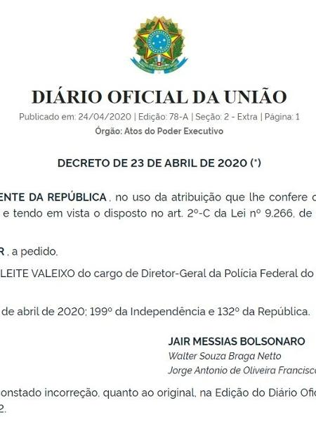 Nova exoneração de Maurício Leite Valeixo do comando da Polícia Federal, agora sem assinatura de Moro - Reprodução