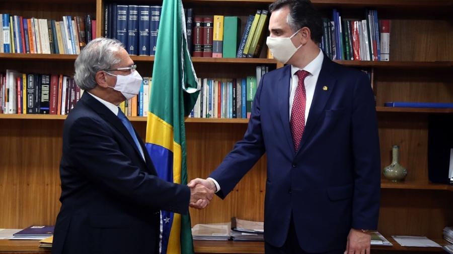 Encontro entre o ministro da Economia, Paulo Guedes, e o presidente do Senado, Rodrigo Pacheco - Divulgação/Ministério da Economia