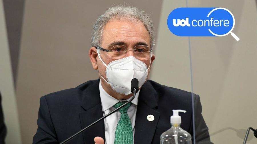 6.mai.2021 - UOL Confere: o ministro da Saúde, Marcelo Queiroga, presta depoimento à CPI da Covid no Senado - Jefferson Rudy/Agência Senado