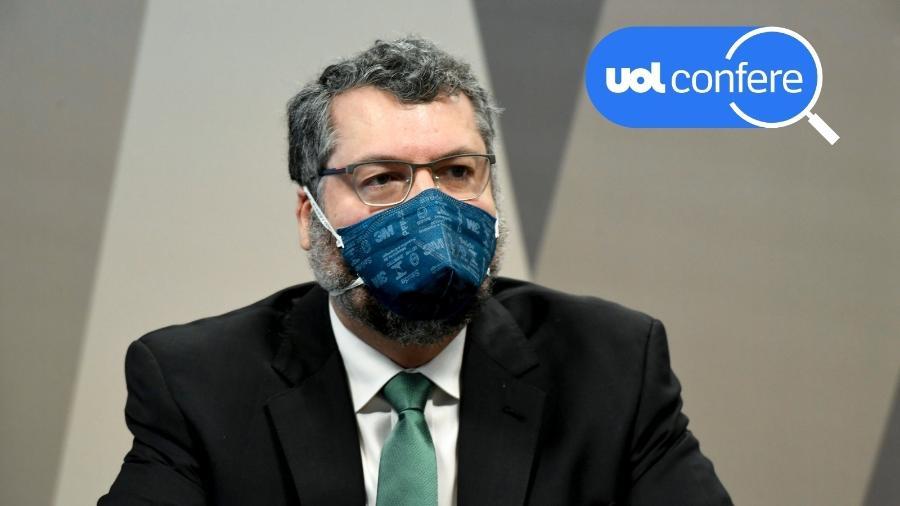 18.mai.2021 - O ex-chanceler Ernesto Araújo presta depoimento à CPI da Covid - Jefferson Rudy/Agência Senado