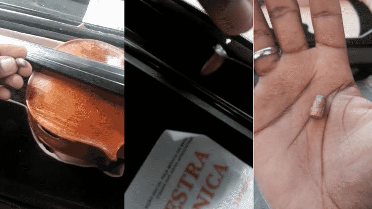 Jovem mostra bala que atingiu violino na manhã de 20 de agosto - Arquivo pessoal - Arquivo pessoal