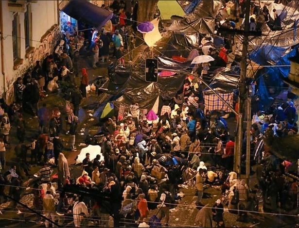 Aglomeração de barracos na cracolândia, no centro de São Paulo (agosto de 2015)