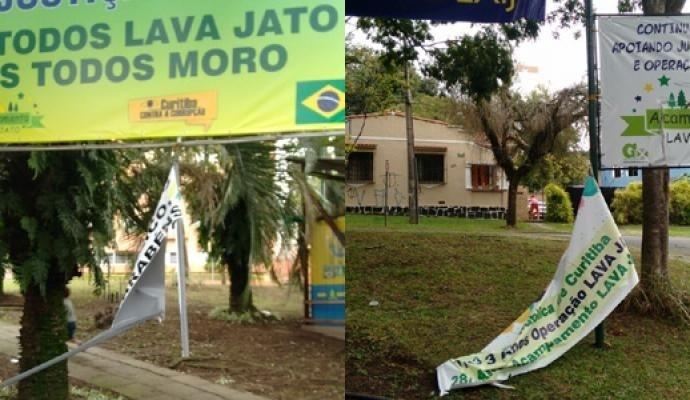7.mai.2017 - O acampamento do Movimento Contra a Corrupção em Curitiba foi alvo de vândalos