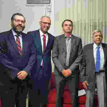 Araújo, Bolsonaro, Shelley e general Heleno durante o encontro na Granja do Torto - Reprodução/Facebook