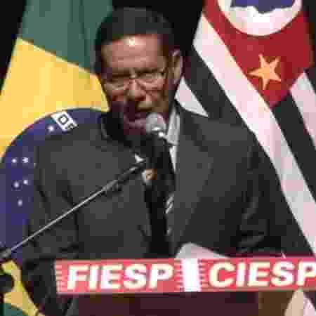 26.mar.2019 - O vice-presidente da República, general Hamilton Mourão, faz discurso para empresários na Fiesp - Reprodução/Facebook/Fiesp
