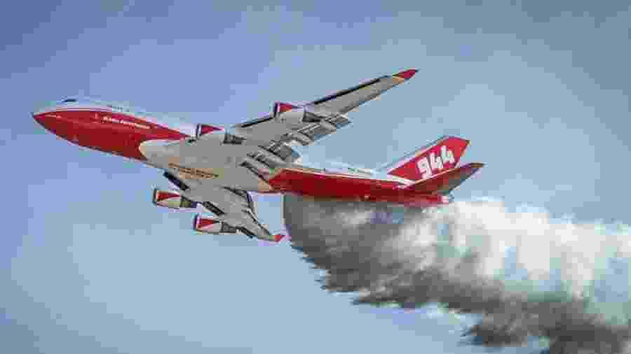 747 SuperTanker da empresa Global SuperTanker, contratado pelo governo da Bolívia para combater incêndios florestais no país - Reprodução/Facebook/Global SuperTanker