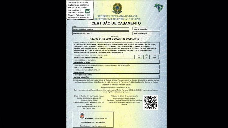 Certidão de casamento da juíza Sibele Lustosa, que me condenou, com Daniel Holzmann Coimbra, amigo e parceiro de Deltan Dallagnol em Curitiba - Reprodução