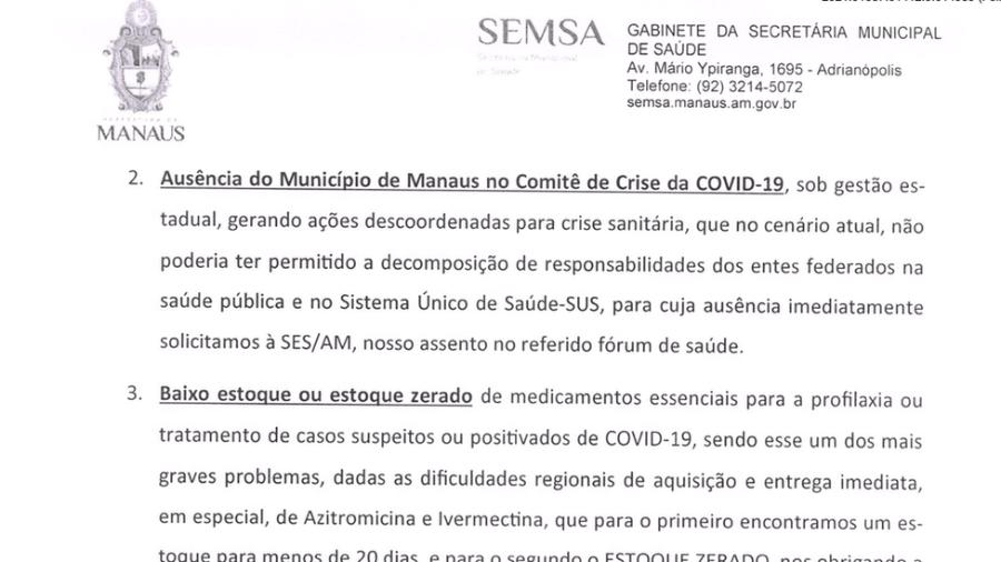 """Em ofício enviado em 14 de janeiro ao Ministério da Saúde, Secretaria de Saúde de Manaus diz que ivermectina e azitromicina são """"medicamentos essenciais"""" para tratar covid-19 - Reprodução"""