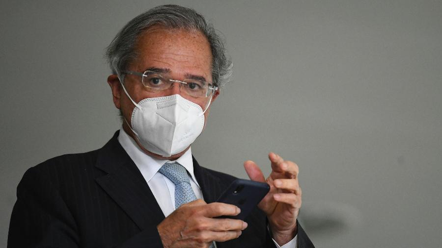 4.ago.2021 - O ministro da Economia, Paulo Guedes, durante cerimônia de posse de Ciro Nogueira (PP) na Casa Civil - Mateus Bonomi/AGIF/Estadão Conteúdo
