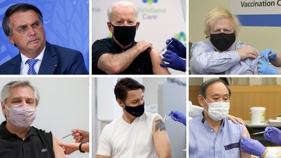 Maioria dos líderes tomaram vacinas e compartilharam as imagens (Créditos: Reuters, Governo do Reino Unido, Reprodução) - BBC