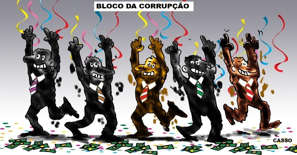 25.jan.2016 - No bloco da corrupção, dinheiro é confete
