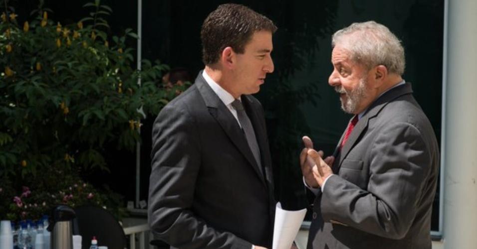 Ex-presidente Lula recebe o jornalista Glenn Greenwald para entrevista em São Paulo
