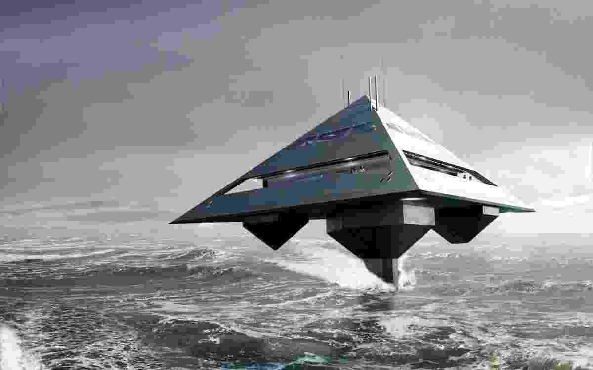 O designer Jonathan Schwinge projetou um iate em formato de pirâmide e com um sistema de propulsão que faz com que ele pareça estar voando - Divulgação/Schwinge