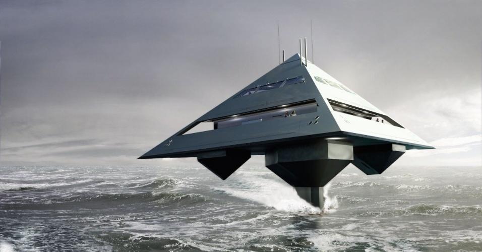 O designer Jonathan Schwinge projetou um iate em formato de pirâmide e com um sistema de propulsão que faz com que ele pareça estar voando