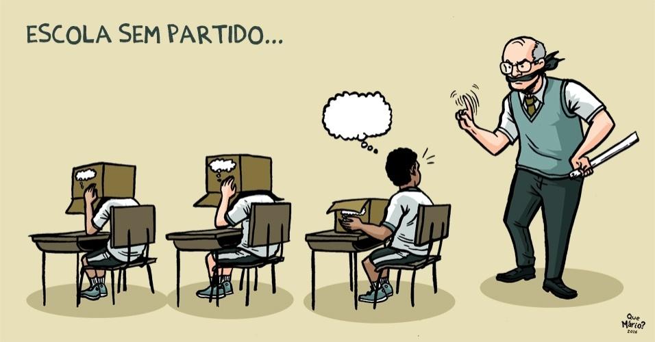 """21.jul.2016 - Para chargista, assim serão as escolas se projeto da """"escola sem partido"""" for aprovado"""